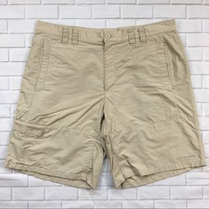Columbia PFG Cargo Shorts Sz 38 Tan